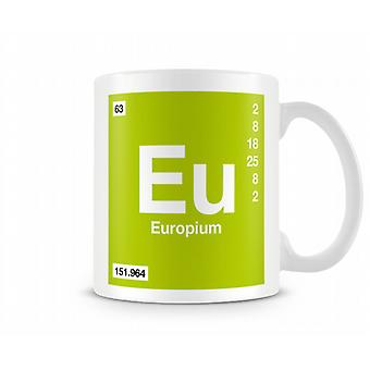 Element Symbol 063 Eu - Europium Printed Mug