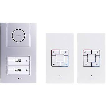 m-e modern-electronics Vistus AD 4020 Door intercom Corded Complete kit Semi-detached Silver, White