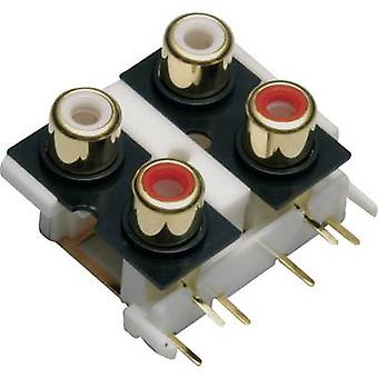 BKL Electronic 072385 RCA connector Socket, vertical vertical Number of pins: 4 Gold, Red, White 1 pc(s)