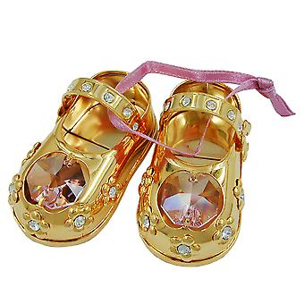 Decorative baby shoes Dekoobjekt gold plated 1 pair of baby shoes with glass stones