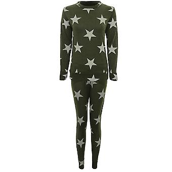 Ladies Star Print Tracksuit Casual Lounge Wear Joggers Pants Sweatshirt Set