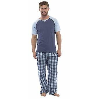 Wolf & Harte Mens Cotton Short Sleeve Top Pyjama Lounge Wear