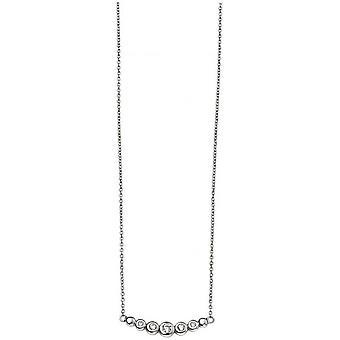 Begin Cubic Zirconia kleine gebogen Bar halsketting - zilver/wissen