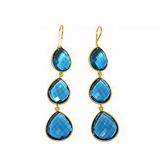 Gemshine - damas - Pendientes - plata 925 - dorado 9 cm - cuarzo - topacio azul - caramelo - gotas-