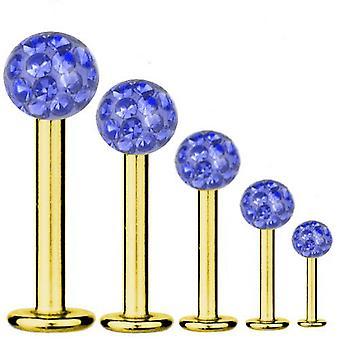 Barra de Labret perforación oro plateado titanio 1, 6mm, cristal Multi bola azul zafiro | 5-16 mm