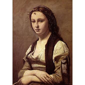 La femme a la perle,Jean Baptiste Camille Corot,60x40cm