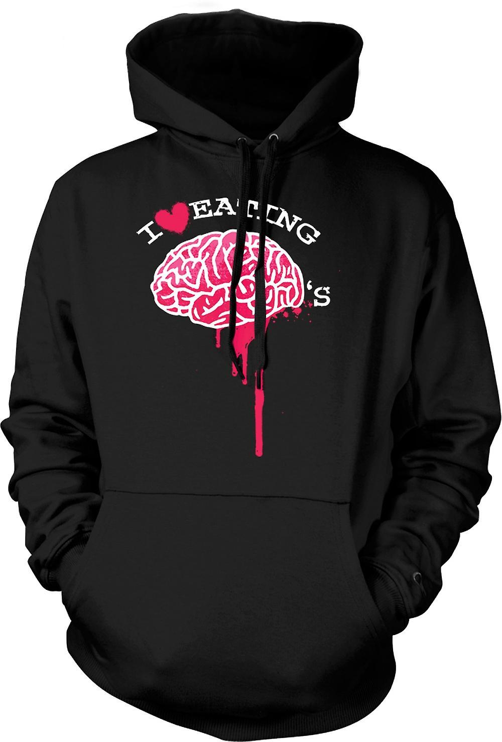 Mens-Hoodie - ich liebe Essen Gehirne - Zombie - lustig