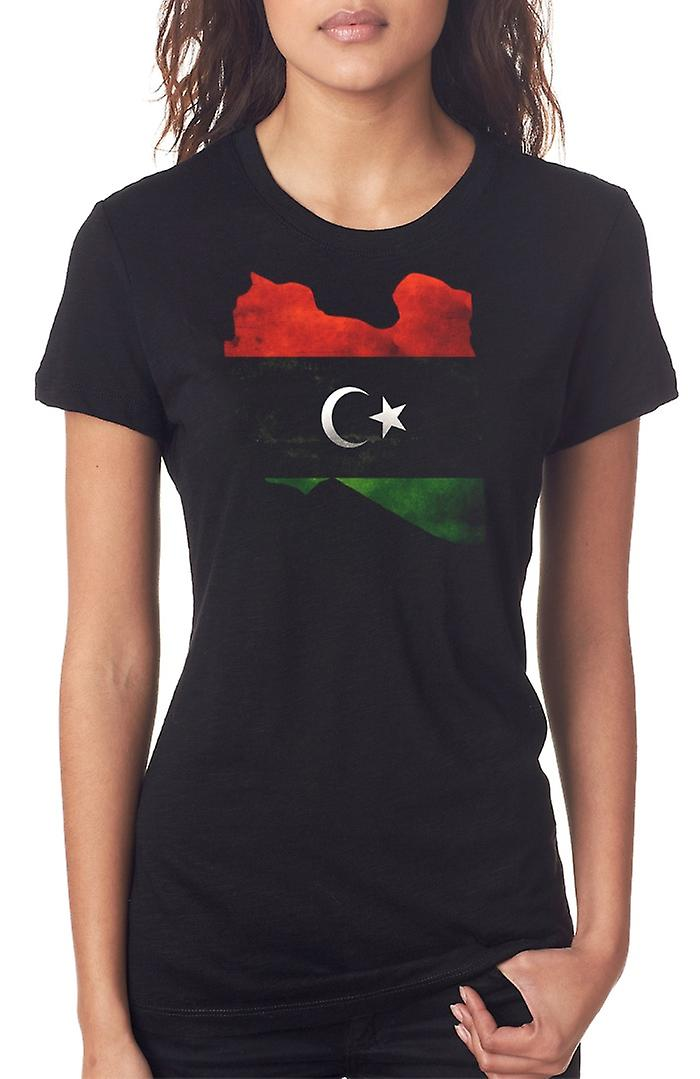 Libya Libyan Flag Map Ladies T Shirt
