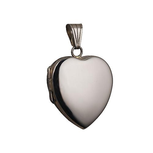 9ct White Gold 24x20mm plain heart shaped Locket