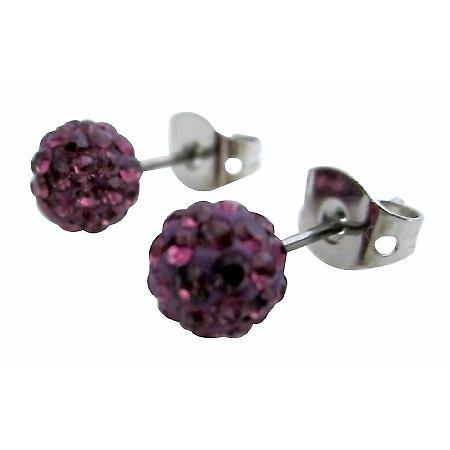 Trendy Fashion Amethyst Pave Ball Earrings