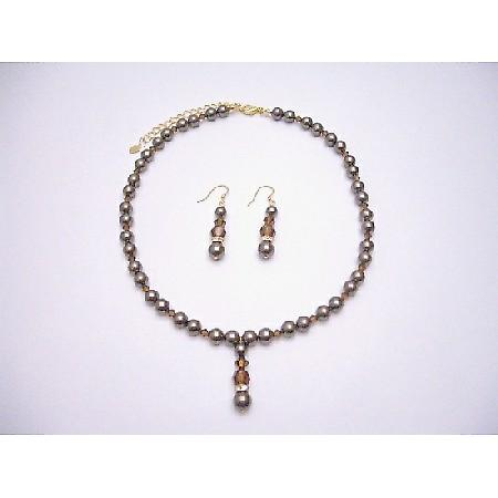 Chocolate Pearls Smoked Topaz Crystal Jewelry Bridal Rondells Necklace