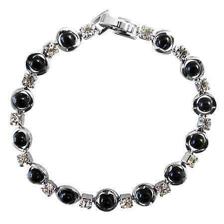 Confetti Black Pearls Bracelet & Cubic Zircon Bracelet 7 Inches
