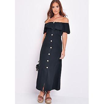 9fa3b1bb090 Frilled Bardot Button Through A Line Maxi Dress Black