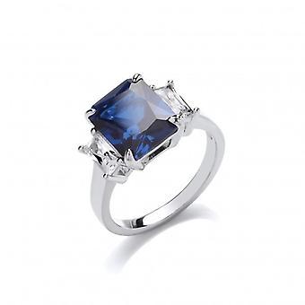 Cavendish franska Silver och Sapphire CZ Victoria Ring