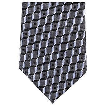 Knightsbridge Neckwear Square Skinny Tie Polyester - noir/gris