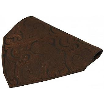 David Van Hagen Luxury Paisley Silk Handkerchief - Brown