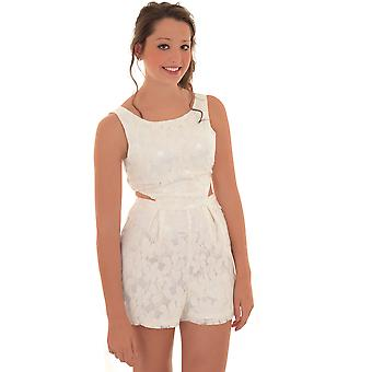 Ladies Sleeveless Lace Lined Crochet Side Cut Out Romper Tailored Playsuit