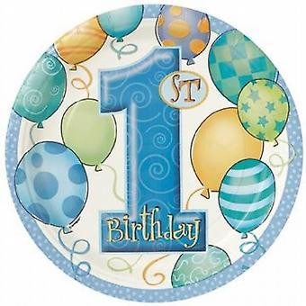 USA e getta Party/Picnic primo 1 ° compleanno ragazzo 9 pollici (23cm) carta piatto 8/Pack