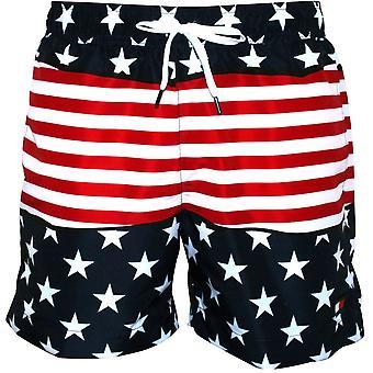 Tommy Hilfiger Stars & listras imprimir calções de banho, Navy/Red/White