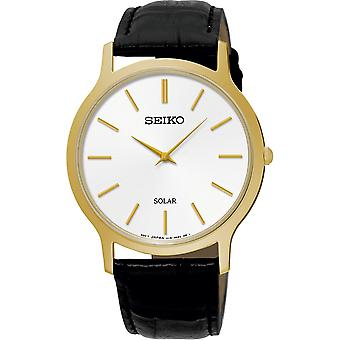 Seiko Mens Solar Powered Watch Analogue Classic Display und Leder-Strap
