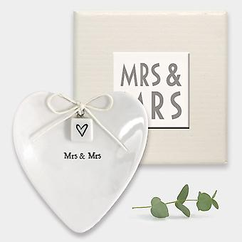 East of India Mme - Mrs Heart Ring Dish - Porcelaine - Cadeau de mariage