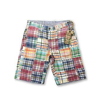 Tailor Vintage reversible shorts in blue/white stripe/madras