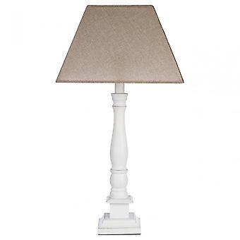 Premier Home Maine Table Lamp - EU Plug, Fabric + PVC, Wood, White