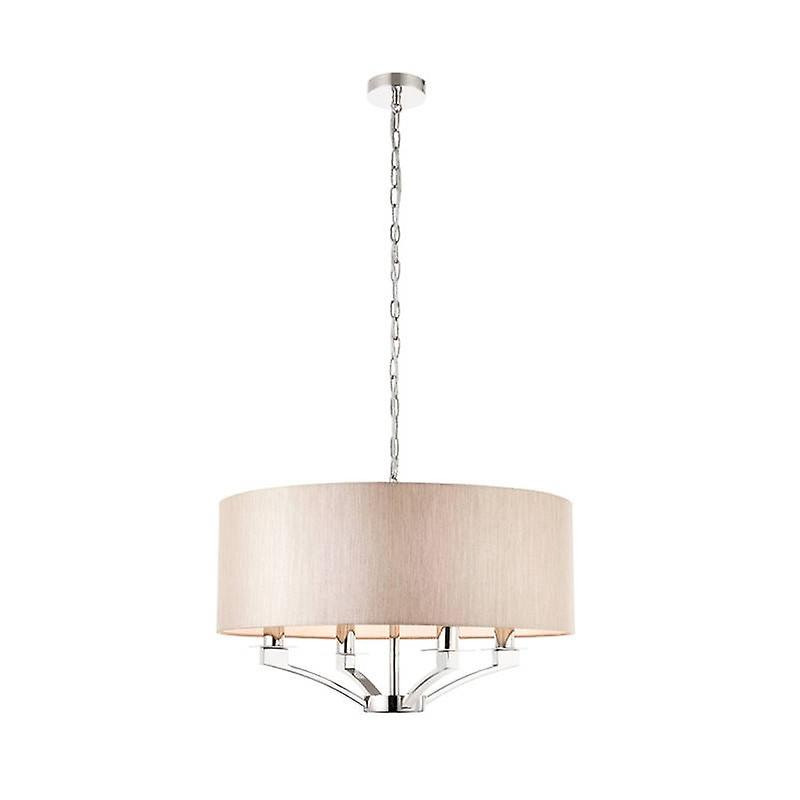 4 Light Multi Arm Ceiling Pendant Polished Nickel With Beige Single Shade