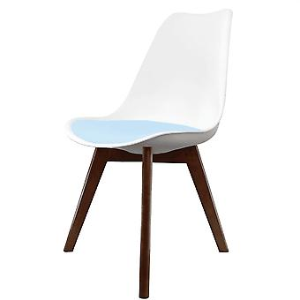 Fusion Living Eiffel Inspired White And Blue Dining Chair With Squared Dark Wood Legs