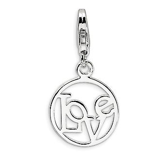 925 Sterling Silver Rhodium-plated Fancy Lobster Closure Polished Love in Circle With Lobster Clasp Charm - Measures 27x
