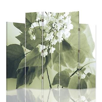 Decorative Room Divider, 5 Panels, Canvas, White Flower2