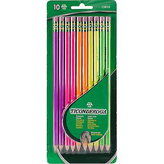 Ticonderoga #2 Pencils 10/Pkg-Assorted Neon 13810