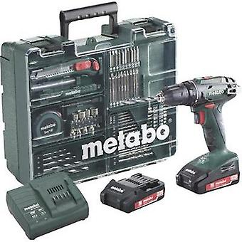 Metabo S 18 Cordless drill 18 V 2 Ah Li-ion incl. spare battery, incl. accessories, incl. case