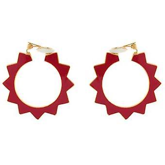 Kenneth Jay Lane Gold Plated & Red Enamel Spike Hoop Clip On Earrings