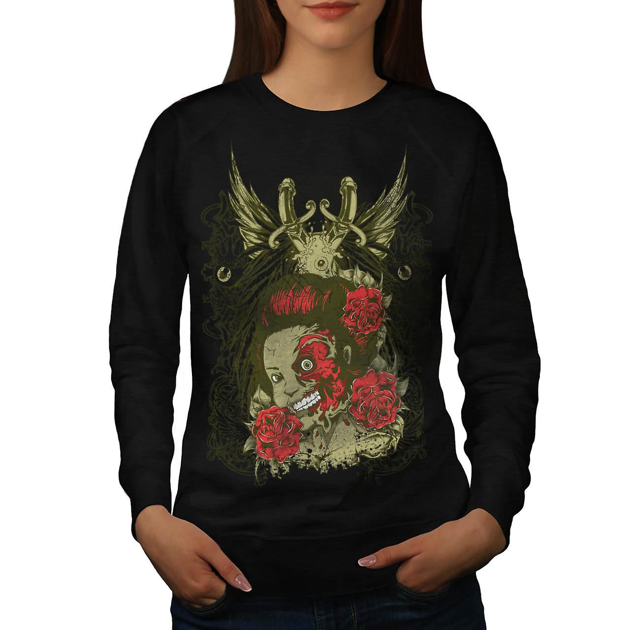 Dead Girl Rose Zombie Head Flesh Women Black Sweatshirt | Wellcoda