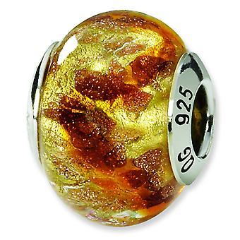 Sterling Silver Antique finish Italian Murano Glass Reflections Yellow Gold Brown Italian Murano Bead Charm