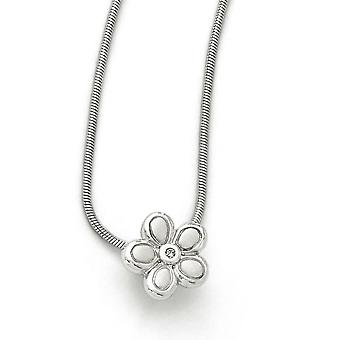 White Ice. 02 ct. Diamond Flower Necklace -.02 dwt - 18 Inch