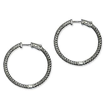 Sterling Silver Polished Prong set Hinged hoop Safety clasp Ruthenium plating Black Plated With Cubic Zirconia Round Hoo