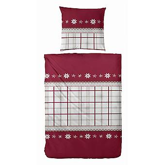 TAP precious flannel bedding snowflake red 135 x 200 cm