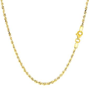 14k diamant solide or jaune coupe royale corde Collier Necklace, 2,0 mm