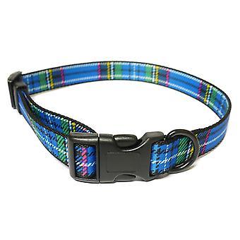 Indulgence Nylon Adjustable Collar Tartan Blue 20-30cm Sz 1-2