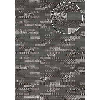 Ethnic wallpaper Atlas ICO-5075-3 non-woven wallpaper smooth with tiling shimmering anthracite basalt grey silver 7,035 m2