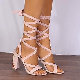 Shoe Closet Pink Lace Up Heels - Ladies Pia5 Baby Pink Lace Ups Embroidered Strappy Sandals High Heels