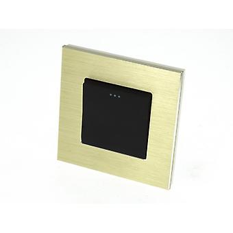I LumoS Luxury Gold Brushed Aluminium Frame 1 Gang 1 Way Rocker Wall Light Switches
