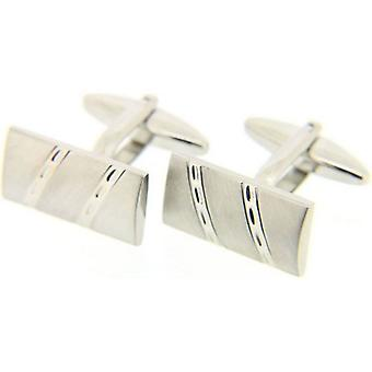 David Van Hagen Rectangle Engraved Cufflinks - Silver