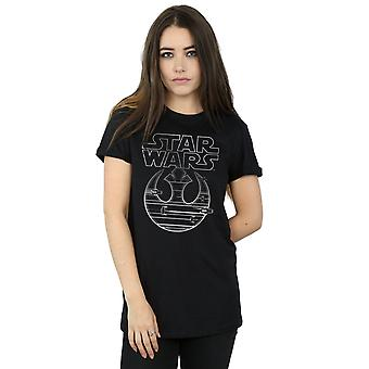 Star Wars Women's The Last Jedi Resistance Logo Metallic Boyfriend Fit T-Shirt