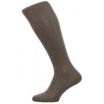 Pantherella Danvers Rib Over the Calf Cotton Lisle Socks - Dark Brown Mix