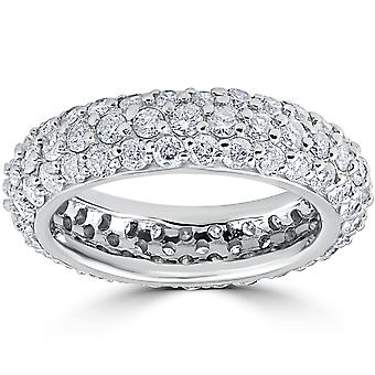 2 1 / 6ct Pave Diamond Eternity bruiloft verjaardag Ring 14k White Gold