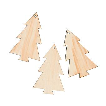 6 Christmas Tree Shaped 89mm Wooden Baubles to Decorate