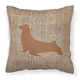 Seal Burlap and Brown   Canvas Fabric Decorative Pillow BB1027
